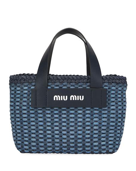 Miu Miu Intreccio Denim Tote Bag