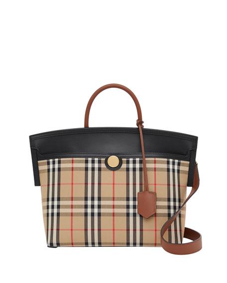 Burberry Society Small Vintage Check Top-Handle Bag