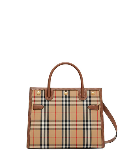 Burberry Title Mini Vintage Check Tote Bag