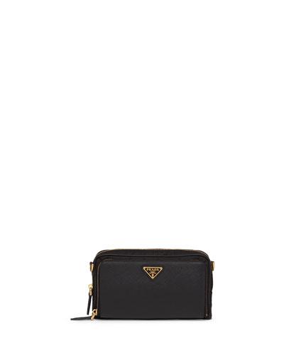 Nylon + Saffiano Mini Bag w/ Removable Crossbody Strap