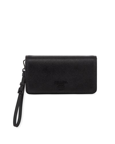 Saffiano Mini Flap Wallet Bag