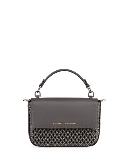 Brunello Cucinelli Laser Cut Leather Crossbody Bag
