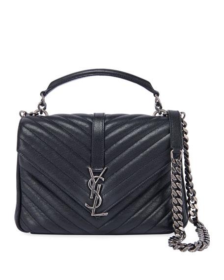 Saint Laurent College Medium YSL Matelasse Lambskin V-Flap Crossbody Bag with Silver Hardware