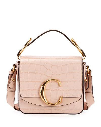 C Mini Croc-Embossed Shoulder Bag