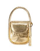 Hayward Lucy Micro Top-Handle Bag in Metallic Python