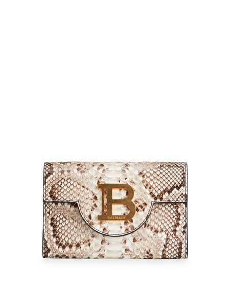 Balmain B Medallion Python Clutch Bag