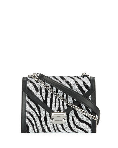 Whitney Zebra-Print Sequin Shoulder Bag