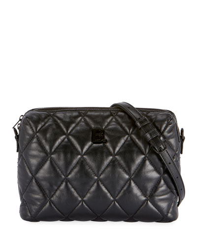 B Quilted Camera Crossbody Bag, Black