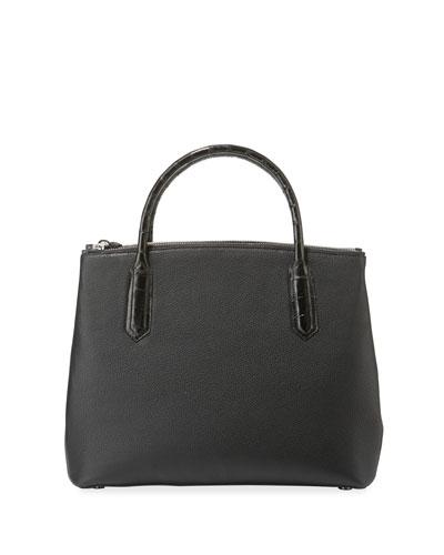 Nyx Medium Zip Croc-Trim Leather Tote Bag