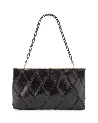 Large Woven Snakeskin Frame Clutch Bag