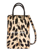 Balenciaga Leopard Shop Phone Holder Crossbody Bag