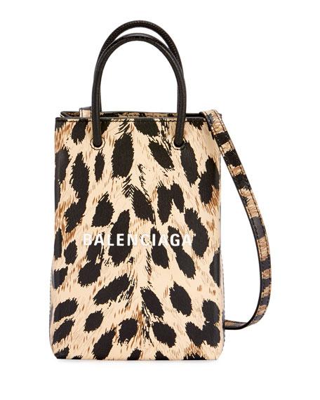 Balenciaga Leopard Shop Phone Holder Crossbody Bag