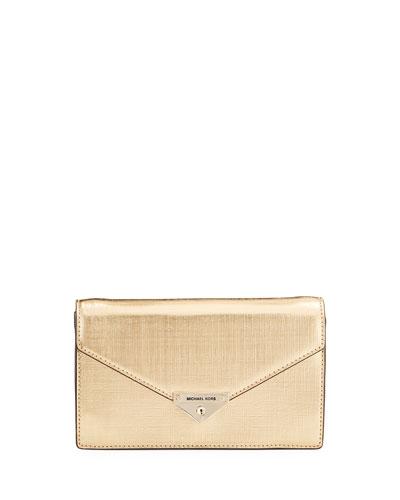 Grace Metallic Leather Envelope Clutch Bag