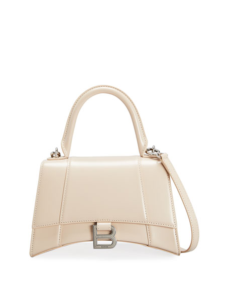 Balenciaga Hourglass Small Shiny Leather Top-Handle Bag