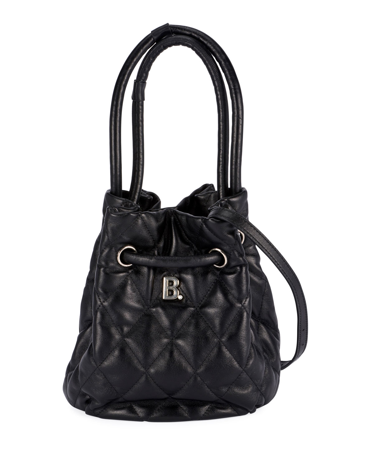 Balenciaga Small B Quilted Leather Bucket Bag In Black