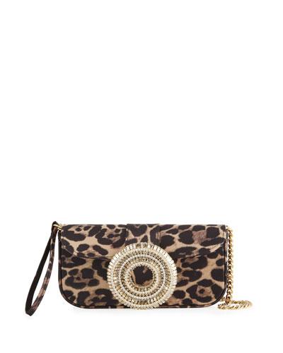Jeni Leopard-Print Satin Clutch Bag