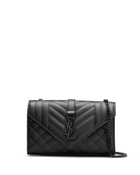 Saint Laurent Small YSL Monogram Leather Satchel Bag