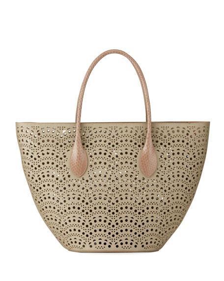 ALAIA Latifa Cutout Leather Small Tote Bag