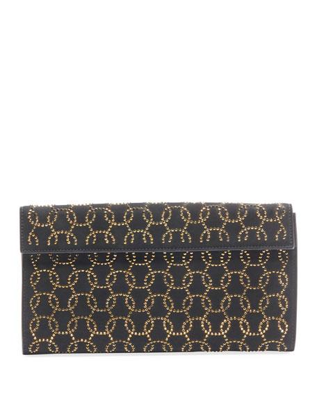 ALAIA Vague2 Studded Suede Clutch Bag