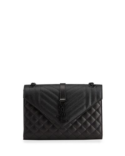 Triquilt Medium YSL Monogram Grain de Poudre V Flap Satchel Bag - Black ...