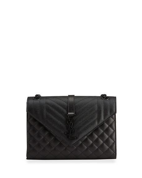 Saint Laurent Triquilt Medium YSL Monogram Grain de Poudre V Flap Satchel Bag - Black Hardware