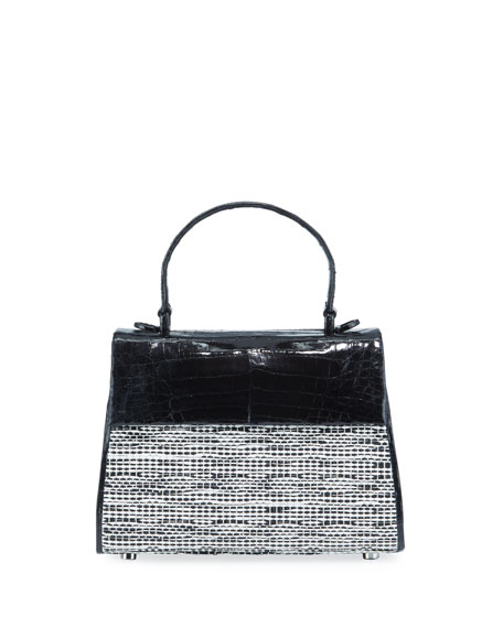 Nancy Gonzalez Lexi Small Croc/Raffia Top-Handle Bag