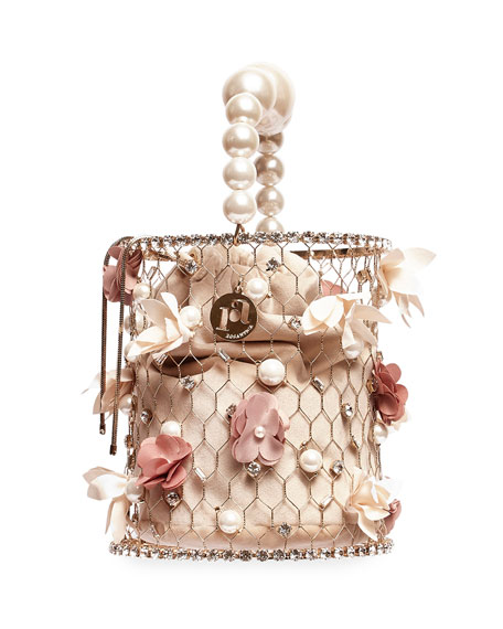 Rosantica Fresia Faux-Pearl & Flower Top-Handle Bag