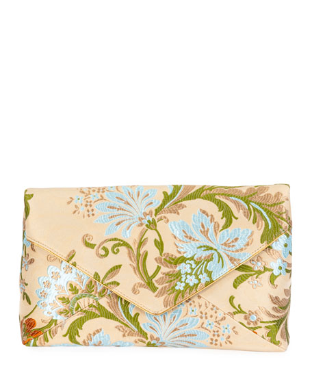 Dries Van Noten Floral Jacquard Envelope Clutch Bag