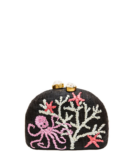 Rafe Ariella Octopus Embroidered Raffia Clutch
