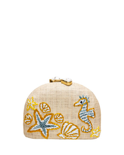 Ariella Seahorse Embroidered Raffia Clutch