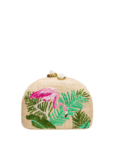 Ariella Flamingo Embroidered Raffia Clutch