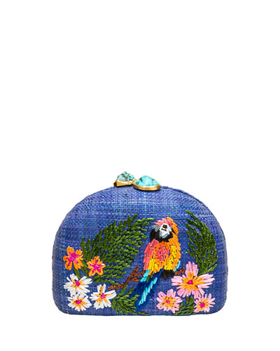 Ariella Blue Parrot Embroidered Raffia Clutch