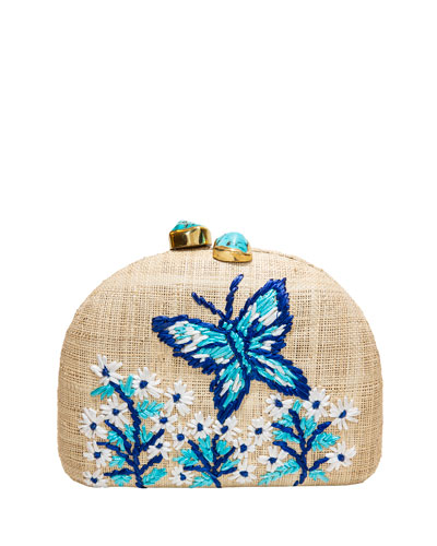 Ariella Butterfly Embroidered Raffia Clutch