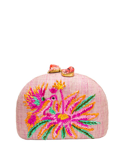 Ariella Pink Bird Embroidered Raffia Clutch