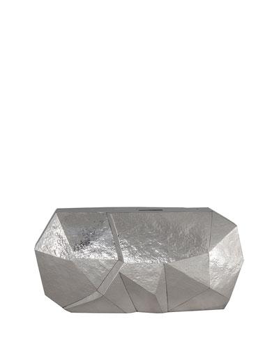 Vivienne Faceted Minaudiere Clutch Bag, Silver
