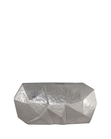 Rafe Vivienne Faceted Minaudiere Clutch Bag, Silver
