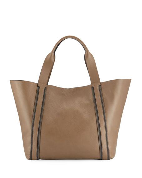 Brunello Cucinelli Large Lamb Leather Monili-Strap Tote Bag