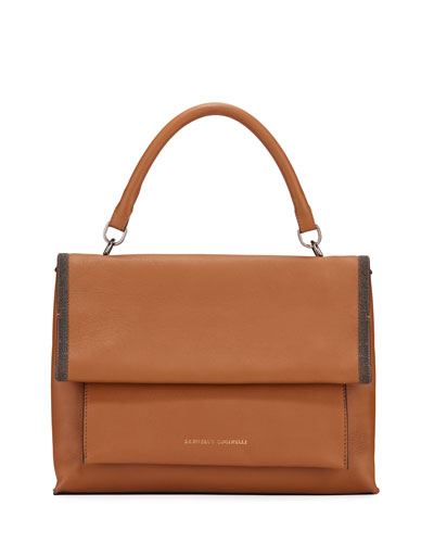 Smooth Leather Flap Closure  Bag