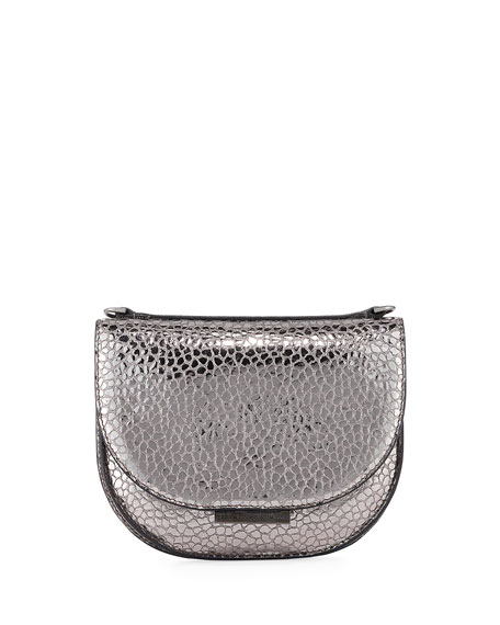 Brunello Cucinelli Metallic Snake-Print Crossbody Bag