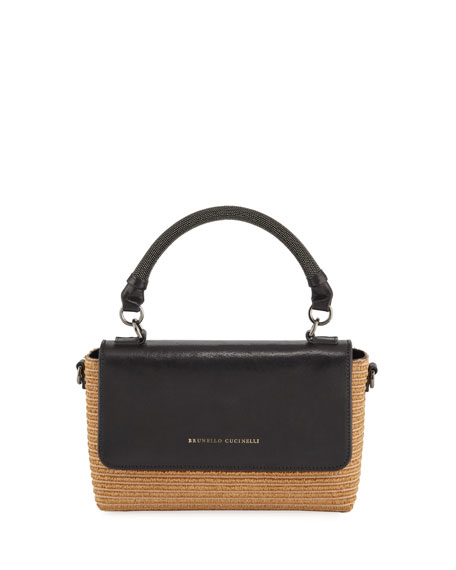 Brunello Cucinelli Raffia Top-Handle Crossbody Bag
