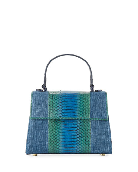 Nancy Gonzalez Lexi Small Linen/Snake Top-Handle Bag