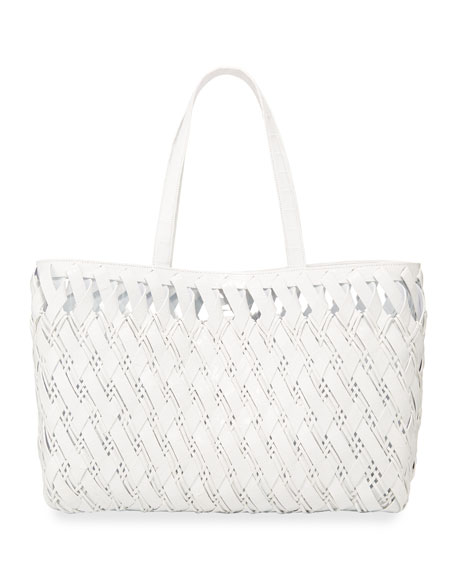 Nancy Gonzalez Large Woven Crocodile Tote Bag