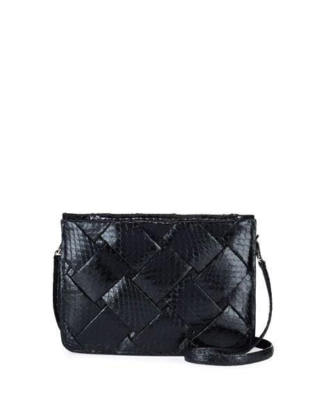 Nancy Gonzalez Small Woven Soft Snakeskin Crossbody Bag