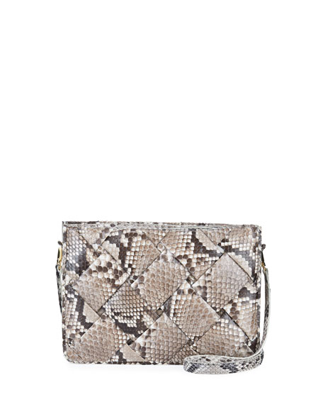 Nancy Gonzalez Small Woven Soft Python Crossbody Bag