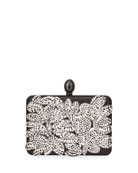 Oscar de la Renta Embellished Satin Box Clutch