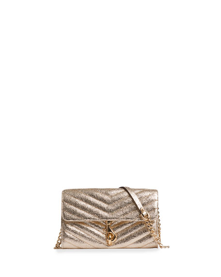 Rebecca Minkoff Edie Metallic Leather Wallet On A Chain