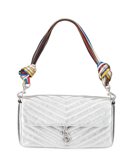 Rebecca Minkoff Edie Metallic Rainbow Top Handle Clutch Bag