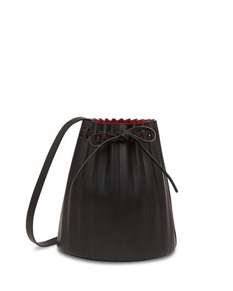 Mansur Gavriel Small Pleated Leather Bucket Bag