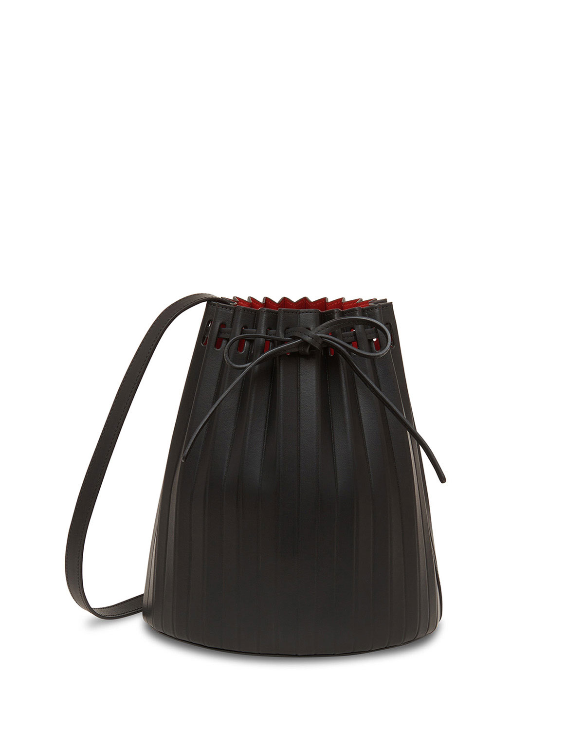 Small Pleated Leather Bucket Bag