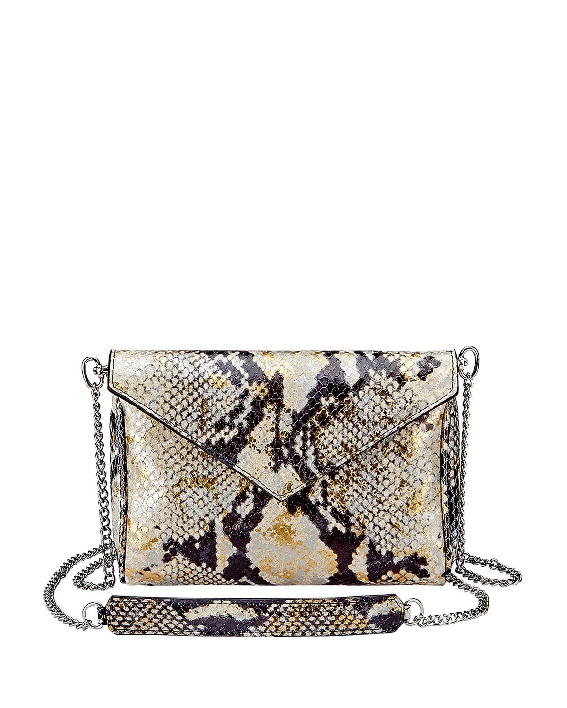 Lena Envelope Snake-Print Crossbody Bag